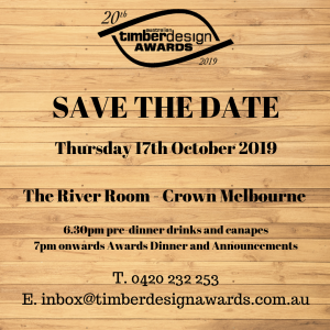 20th Australian Timber Design Awards - Presentation Dinner @ The River Room Crown Melbourne | Southbank | Victoria | Australia