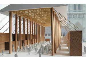 Shigeru ban proposes temporary pavilion to host services during Notre-dame reconstruction
