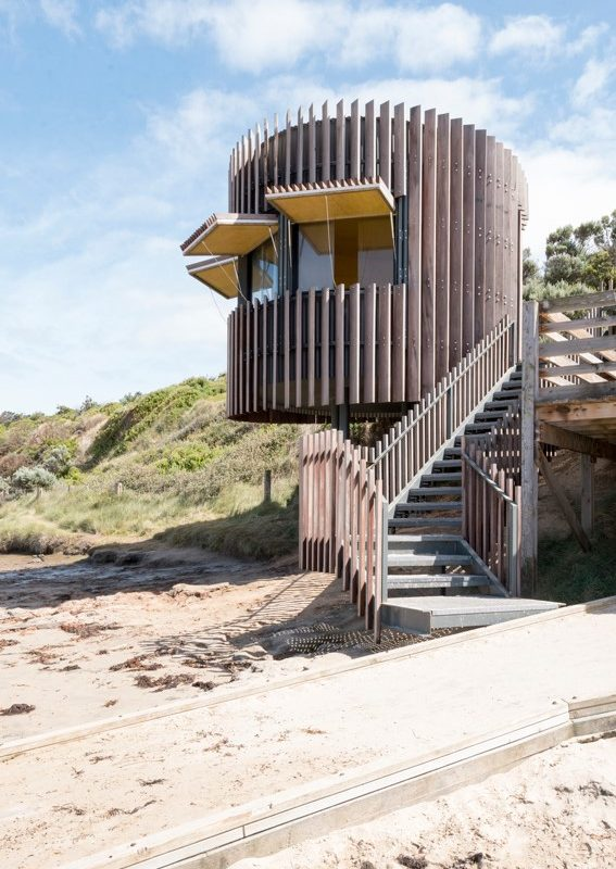 A stunning prefab timber surf lifesaving tower