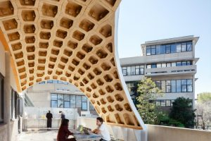 Robotically fabricated canopy adorns brutalist Sydney architecture school