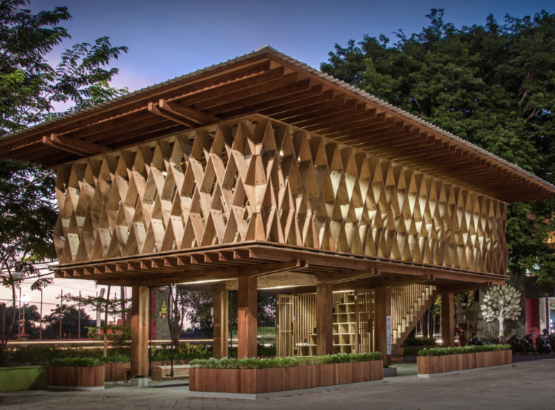 SHAU Forms An Elevated 'Microlibrary' From Prefabricated Timber In Indonesia