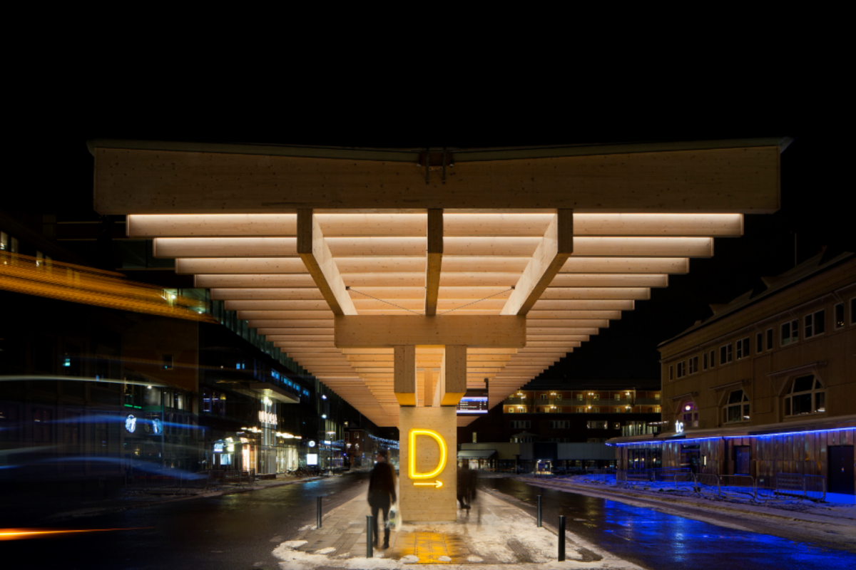 A structure made of concrete and laminated timber for a bus shelter in Umeå, Sweden