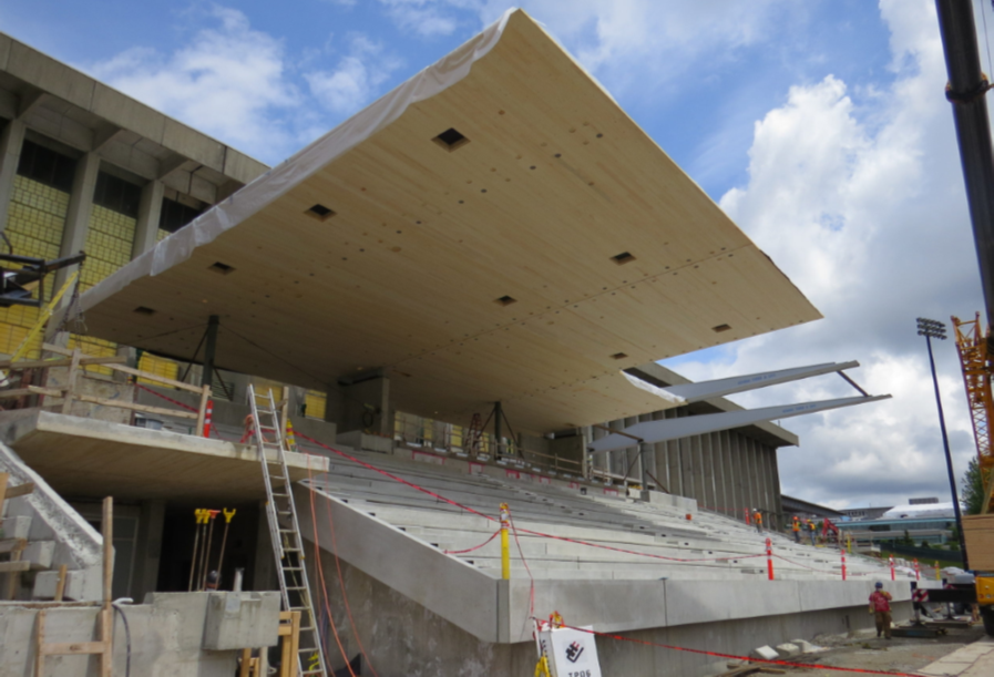CLT panels installed for SFU Grandstand canopy roof
