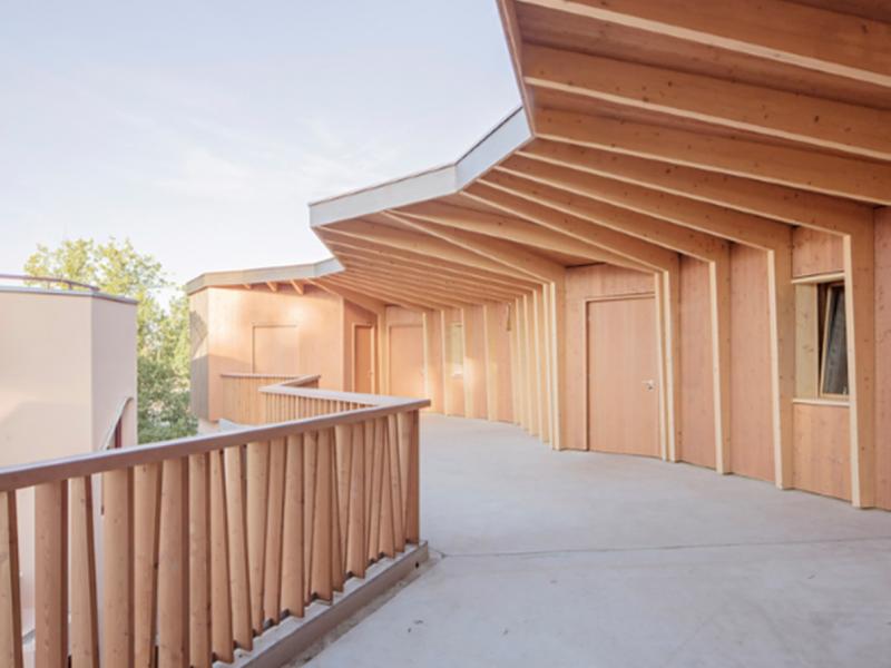 Timber superstructure: Ecole Rudolf Steiner de Genève