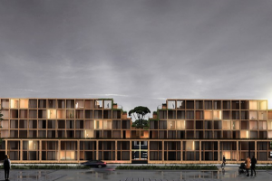 BARBIZON is a green urban living concept built from stackable CLT modules