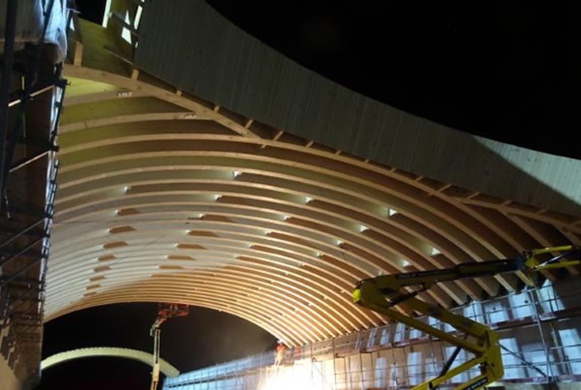 Wooden wildlife bridge is erected