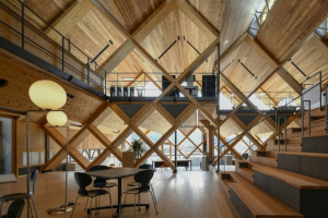 NKS Architects Uses Criss-Crossing Laminated Timber to Design an Office in Japan