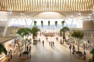 Get an early glimpse of the new timber-topped main terminal at Portland International Airport